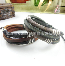 New 2015!  fashion hand made rope leather bracelet bangle for women men dressing punk style jewelry for Christmas gifts NSL-43