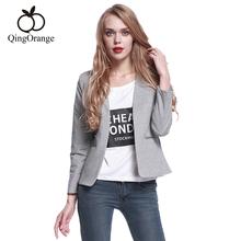 Blazer Women Grey Office Ladies Jacket Blazers Long Sleeve Pockets None Button Slim Short Suit Colete Feminino(China (Mainland))