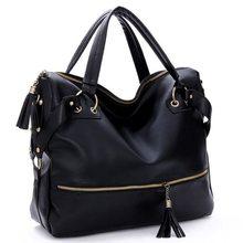 Free Shipping 2016 HOT Korean Stlye Fashion Big Capacity Black Womens Ladies Shoulder Handbag PU Leather Bag Hobo MU226