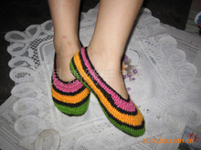 Colorful crochet knit wool floor home shoes fashion shoes handmade shoes floor