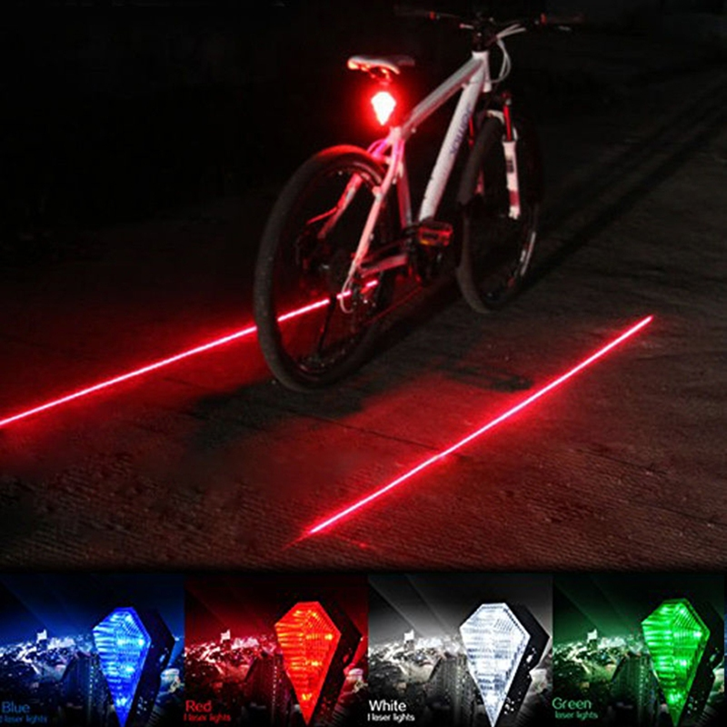 2015 New 5LED+2Laser Bicicleta Mountain Road Bike Bicycle Light Laser Tail Cycling Safety Warning Rear Lamp - fashiontop store
