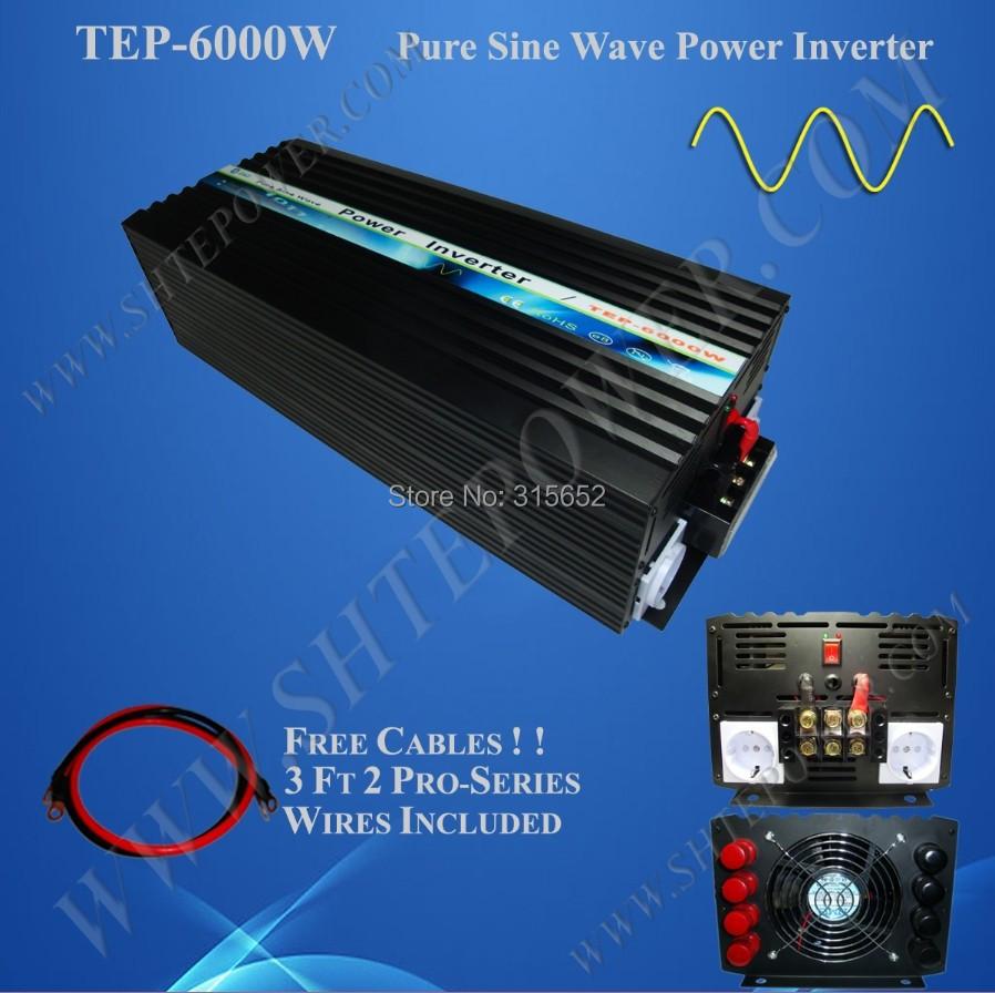 Free Shipping DC 12V to AC 240V Pure Sine Wave Inverter, Off Grid Solar Inverter 6000W(China (Mainland))