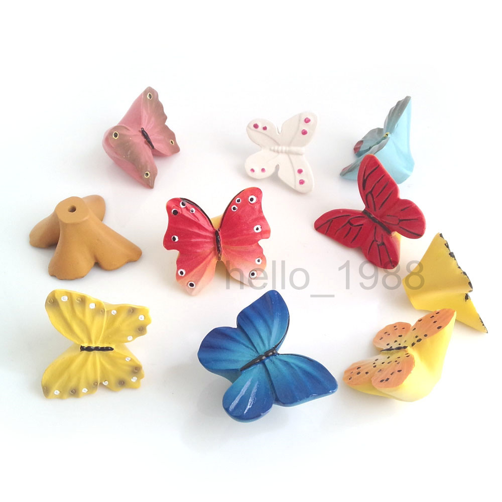 Creative Resin Handmade Cartoon Cabinet Knob Butterfly Series Cupboard Closet Dresser Knob Handle Pulls Other Home Improvement(China (Mainland))