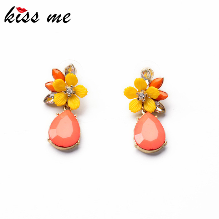 KISS ME Jewelry 2014 Graceful Pink Water Drop Yellow Resin Flower Earrings Women Fashion Accessories - Official Store store