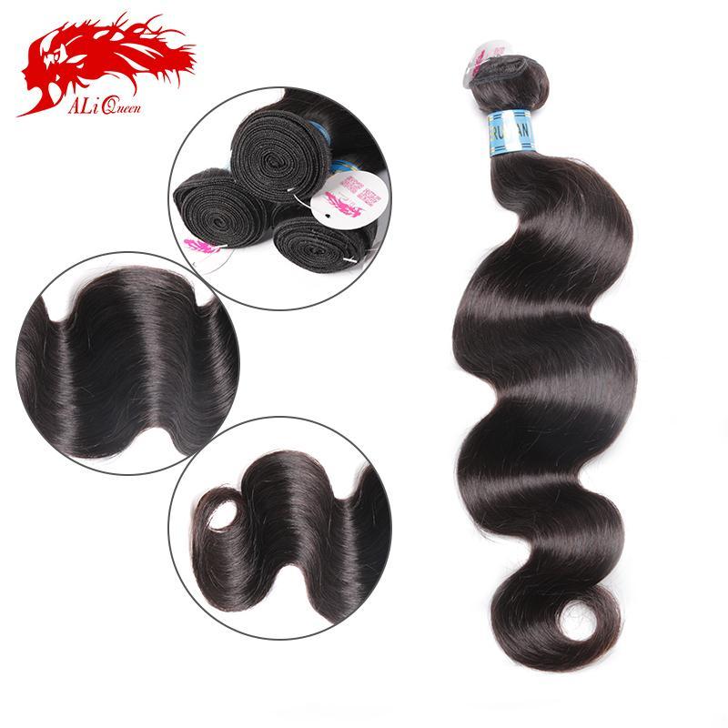 Ali Queen Hair Products 6A Peruvian Virgin Hair Body Wave 3 Pcs Weave Bundles, Unprocessed Peruvian Body Wave Virgin Human Hair