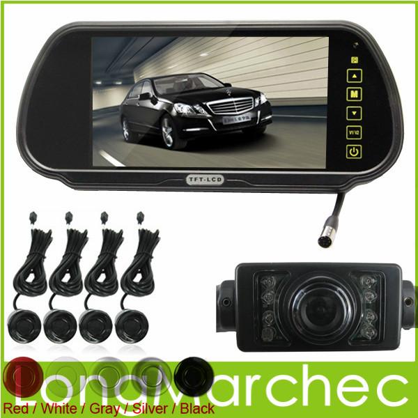 "Car Parking System With 7"" TFT LCD Mirror Monitor + 4 Radar Sensors + Rear view IR Night Vision Camera + Wireless Cable(China (Mainland))"