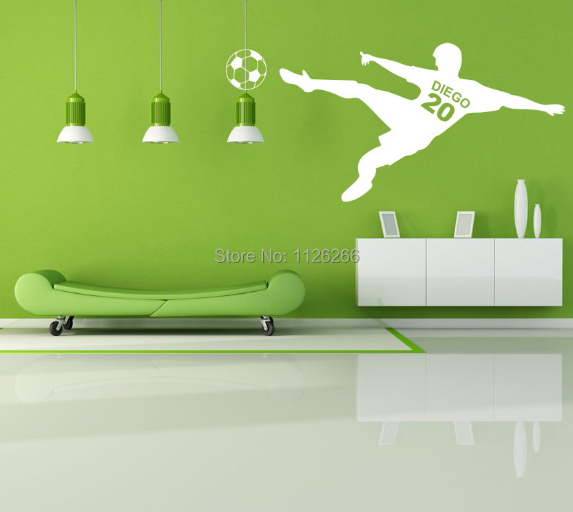 Customer Made Soccer Wall Stickers Personalized Vinyl Art