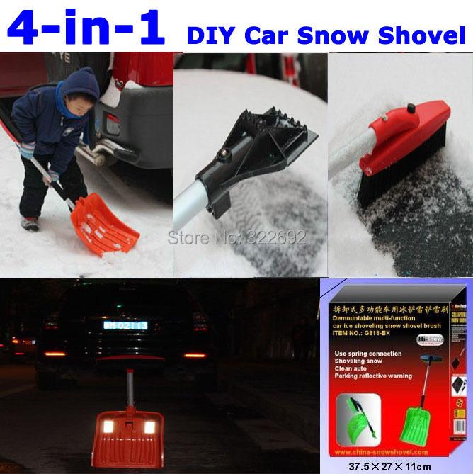 4-in-1 своими руками много автомобиль лопата для уборки снега кисть льда скребок парковки отражающий предупреждение съемный алюминий пластик