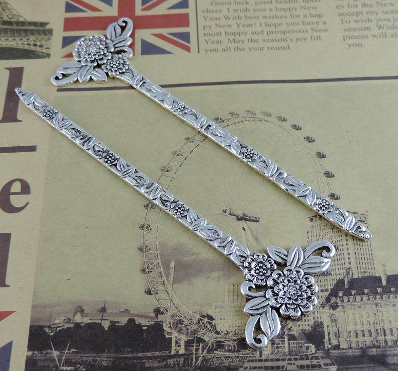2PC Fashion Jewelry Antiqued Silver Flower Hair Sticks Jewelry Making Jewelry Accessories 39295(China (Mainland))