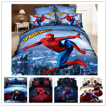 *3d Your Life! HOT 2014 new 100% cotton spiderman queen bedding sets spiderman bed sheets(China (Mainland))