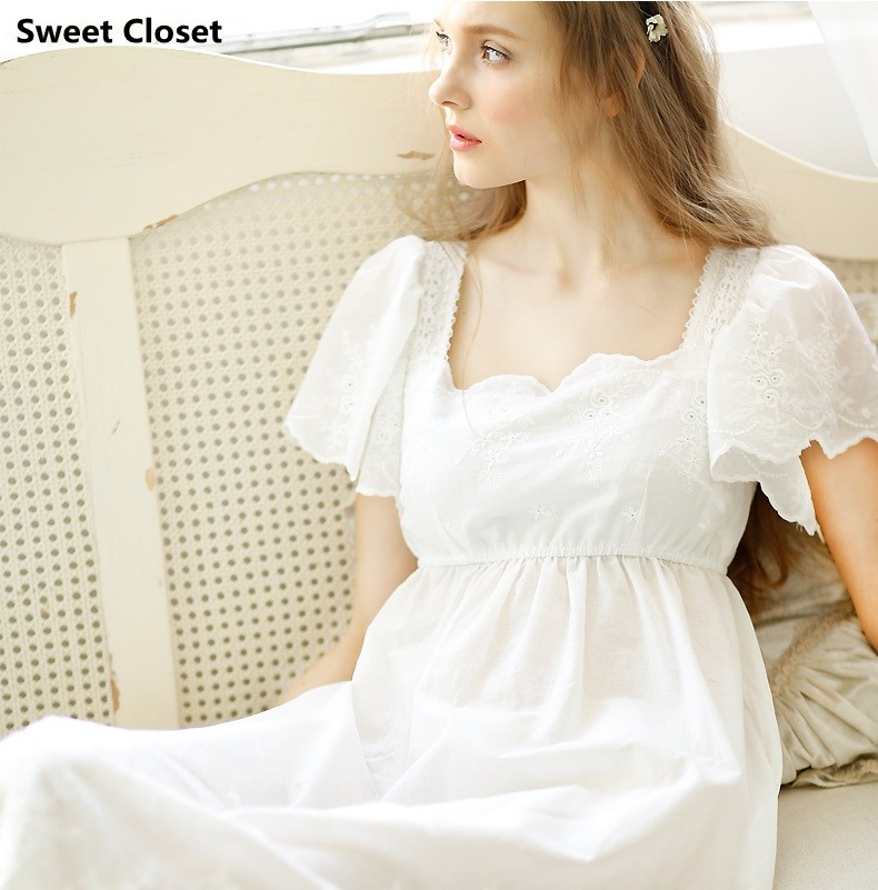 Free shipping women princess long nightgowns cotton high Long cotton sleep shirts