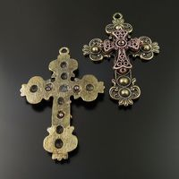 Vintage Style Bronze Copper Tone Alloy Double Cross Pendant Religion Charm 3pcs 36577 70*52*7mm