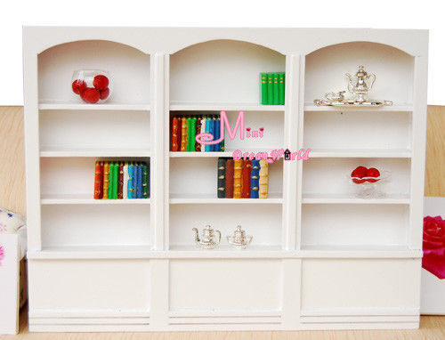 1/12 Scale  Dollhouse Miniature  Furniture White Wood  Bookshelf  Bookcase Library Cabinet Reading Room