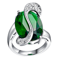 Unique Green Emerald Blue Sapphire 925 Sterling Silver Wedding Rings For Women Size 6 7 8