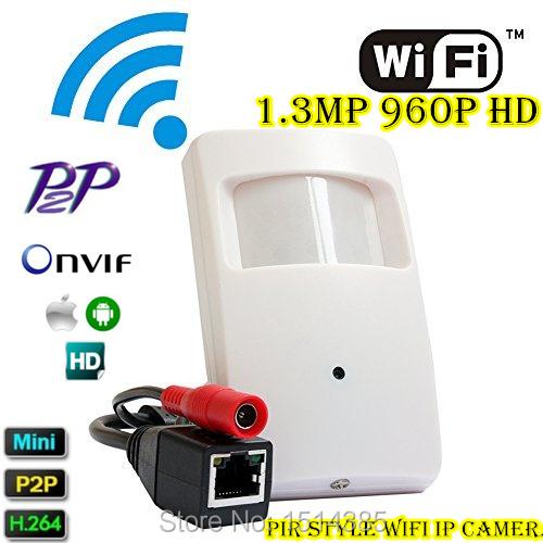 IP Hidden WIFI Covert Cam Wireless PIR Style Wifi Camera 960P Megapixel Mini Wifi IP Camera Onvif P2P Support Smartphone View(China (Mainland))