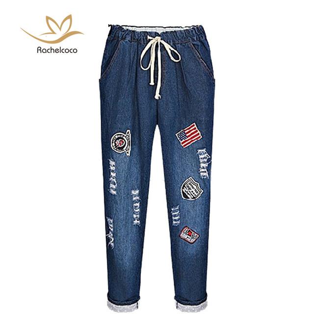 Rachelcoco 2016 новая весна женские джинсы мода высокая талия лоскутная брюки с карманами ...