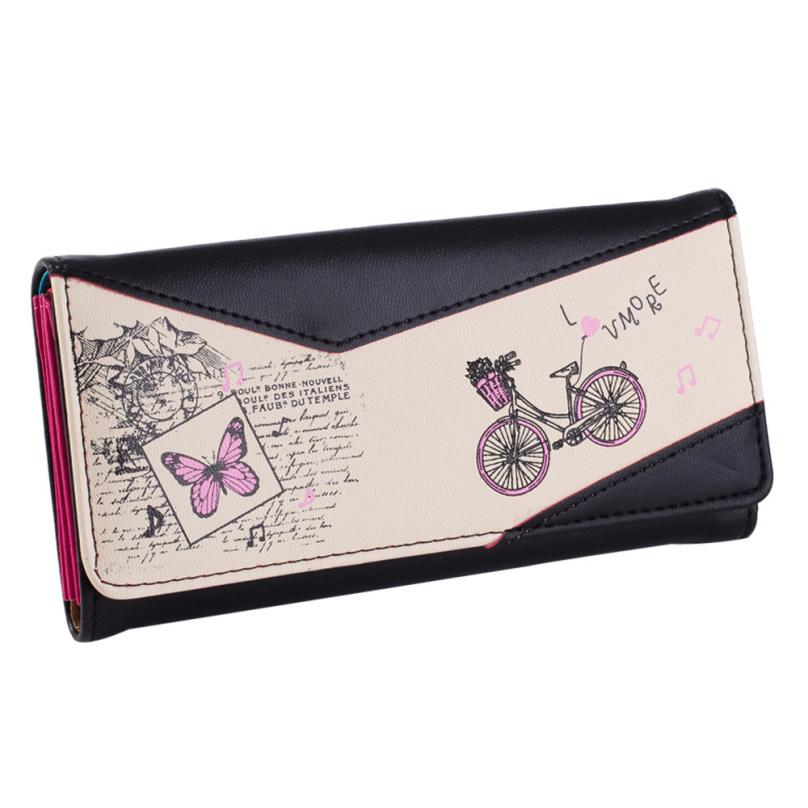 2016 Famous Designers Brand Women handbag Long wallets Printed Cycling Fashion Female Butterfly Purse porte monnaie DropShipping(China (Mainland))