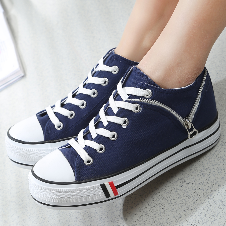 2015 Spring platform canvas shoes female solid lace-up casual zipper breathable elevator Sneakers - Led Shoes store