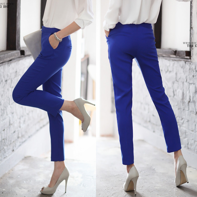 2013 Autumn Brief Casual Pants Ankle Length Trousers Navy Blue Black Western Style Trousers ...