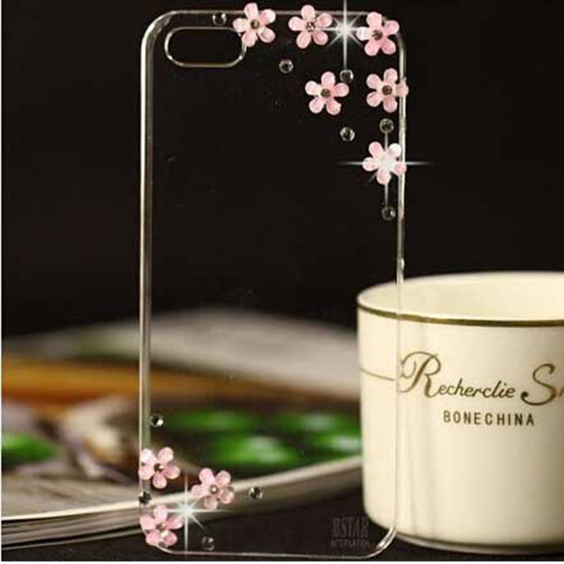 Fashional arrival DIY clear transparent bling crystal diamond flower Case Cover apple phone iphone 6 PT2199 - RobotSky Official Electronic Store store