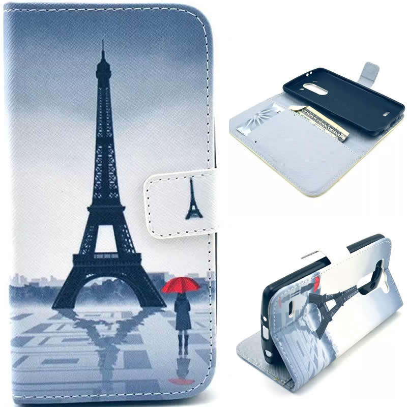 Lovely cartoon bowknot flower paris tower tpu pu leather for Lg store paris