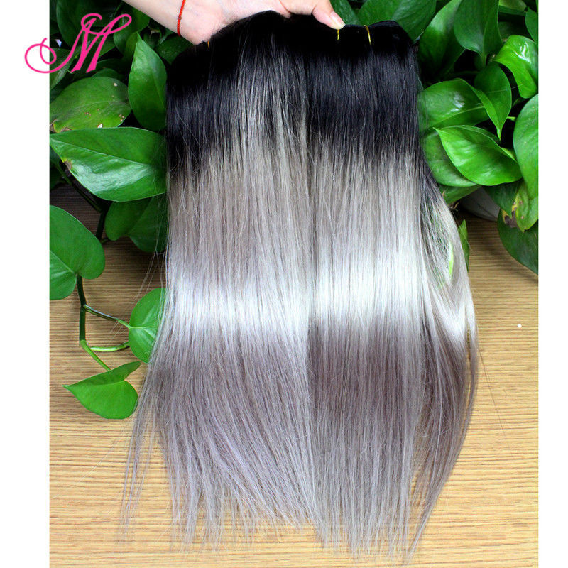 New Ombre Brazilian Hair Straight Two Tone Silver Ombre 4pcs Lot Grey Hair Weave 7A Brazilian Gray Human Hair Extensions HC Hair(China (Mainland))