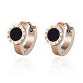 Luxury Shiny Crystal Ceramic Stud Earrings Woman Elegant Stainless Steel Rose Gold Plated Black And White BON Earring For women