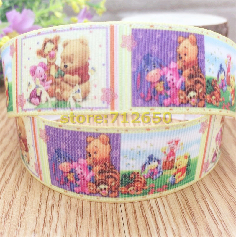 Free shipping 10 yards 1'' (25mm) friends printed Grosgrain Ribbon hairbow accessory gift pack code WM(China (Mainland))