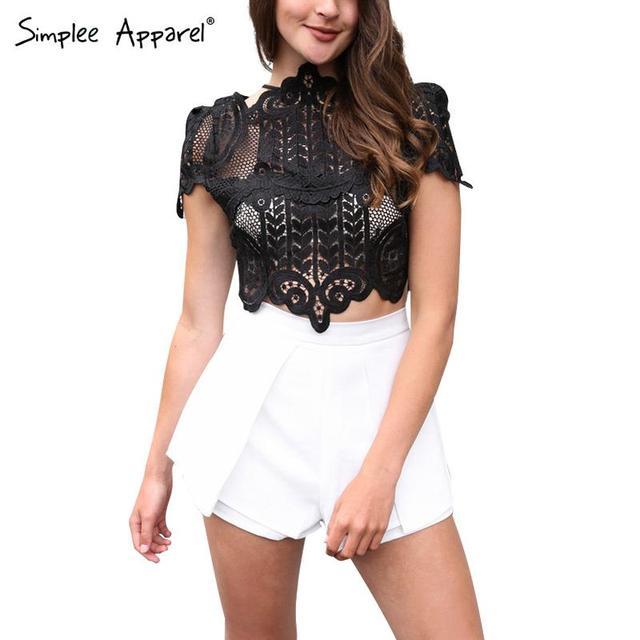 Simplee одежды летний стиль элегантные черные кружева крючком урожая лучших девочек ...