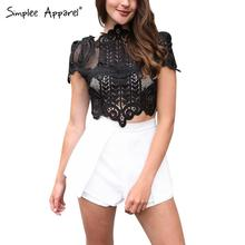 Simplee Apparel Summer style elegant black lace crochet crop top Girls short sleeve white blouse Women sexy hollow out tank tops(China (Mainland))