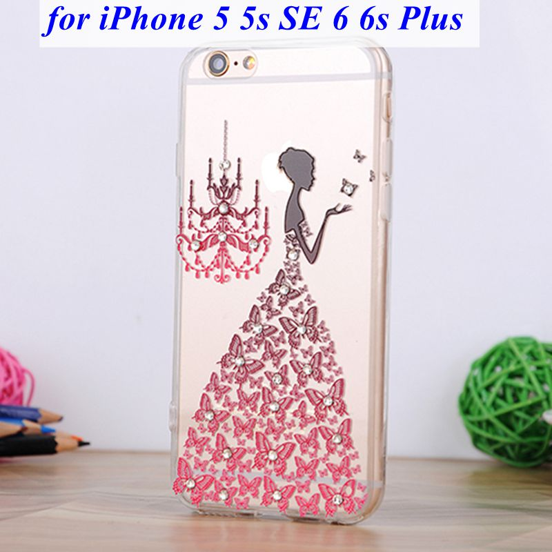 Luxury Diamond Rhinestone Bling Case For iPhone 5 5s SE 6 6s Plus Back Cover Cartoon Girl Beautiful Butterly Dress Style(China (Mainland))