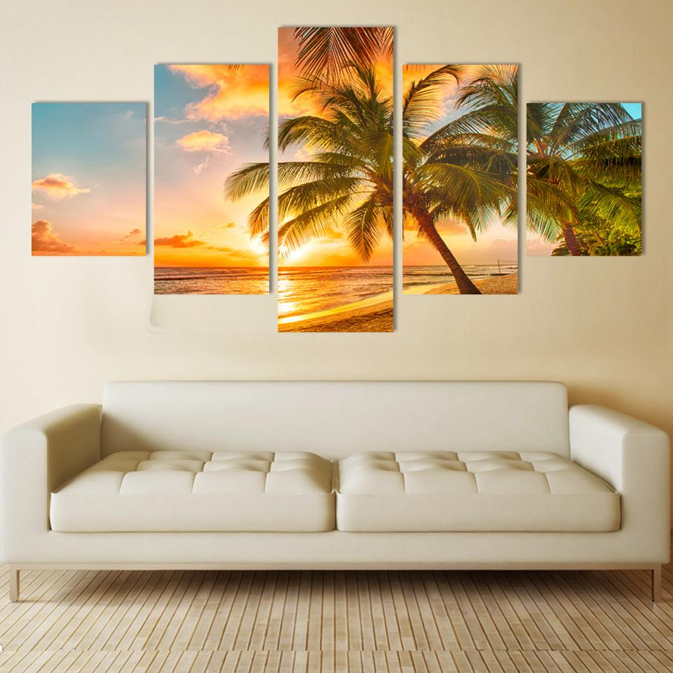 Modern Wall Art Home Decoration Printed Oil Painting Pictures No Frame Canvas Prints 5 Piece Coconut Palm Beach Scenery