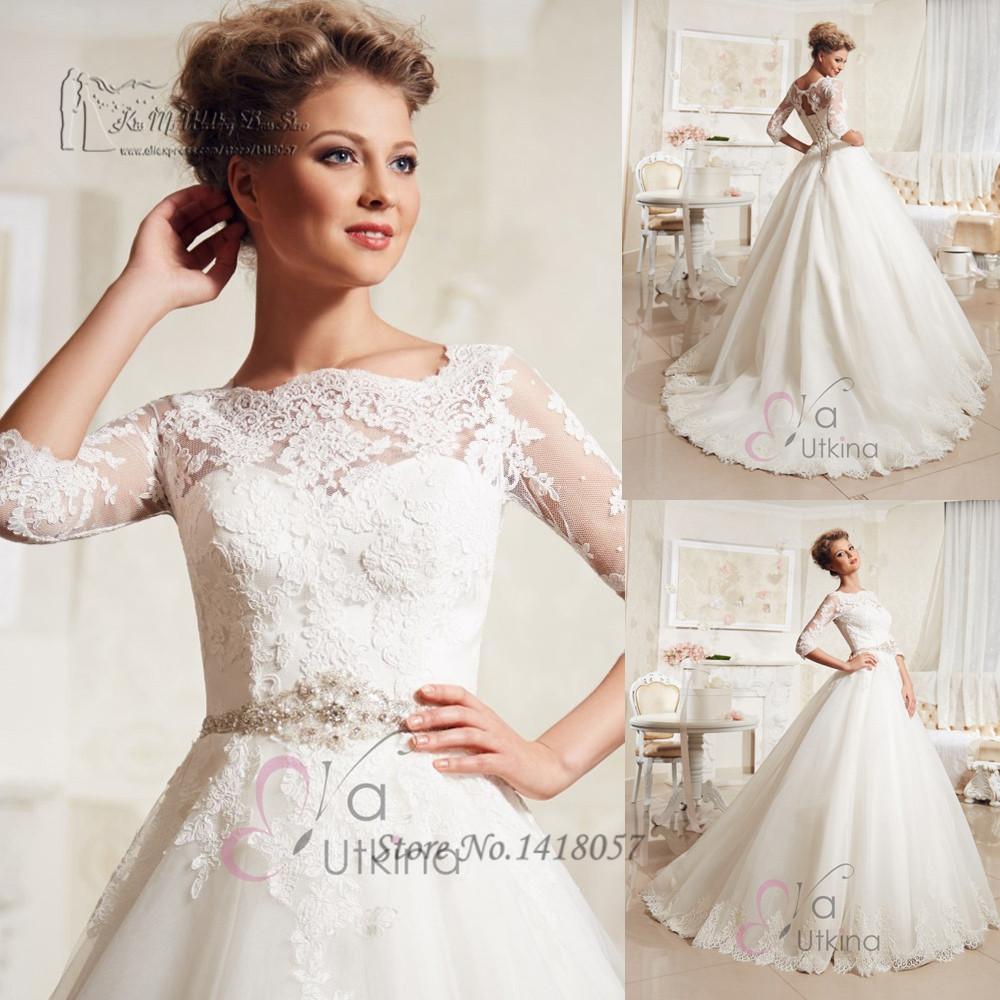 Vestido de noiva princesa bohemian wedding dress 2016 lace for Lace sleeve corset wedding dress