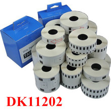 10rolls dk11202 compatible for brother  DK label tape DK-11202  62mm*100mm black on white typewriter printer Ribbon label maker