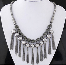 Simulated Pearl Link Chain Tassel Statement Necklace Women Rhinestone Necklaces Pendants Jewelry Collar For Gift Party