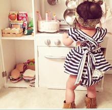 2016 Fashion baby toddler girls dress newborn girls bowknot dress Infant clothing casual dress for summer vestido(China (Mainland))