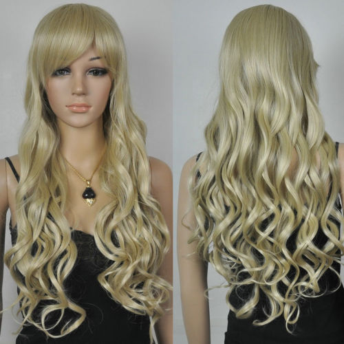 HOT sell Free Shipping >>>new blonde luxury long curly women's cosplay hair wig(China (Mainland))