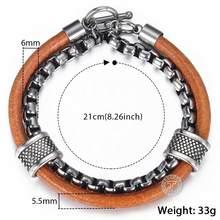 Męska skórzana bransoletka czarny CZ urok ze stali nierdzewnej kubański Link Chain bransoletka moda biżuteria męska prezenty dla mężczyzn 20cm DLB65(Hong Kong,China)
