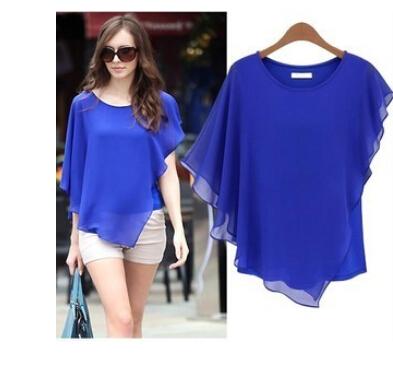 2015 Summer Style Fashion Clothes Women Popular Batwing Sleeve Elegant Chiffon Shirts Loose Casual Blouses Tops WD74(China (Mainland))