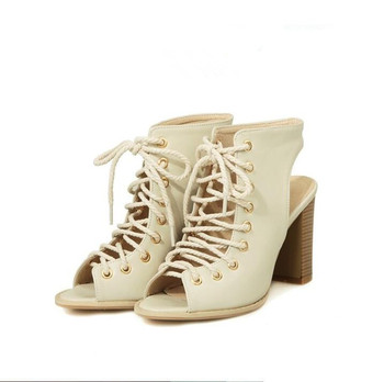 Plus Size 34-47 Women Opened Toe Square Heel Knight Boots Lady Fashion Lace Up Ankle Shoes Girl Gladiator Cross Tied Sandals 108