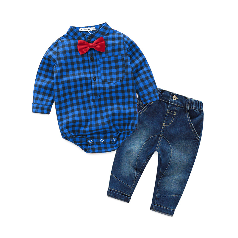 2016 משובץ האדום חדש חולצות + ג 'ינס בני rompers בגדי bebe בגדי סט