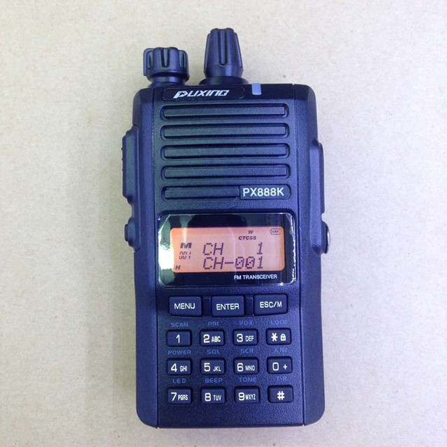 New Original PUXING PX-888K UHF VHF DUAL BAND DUAL DISPLAY DUAL STANDBY PROFESSIONAL FM TRANSCEIVER 5 tone Black Color