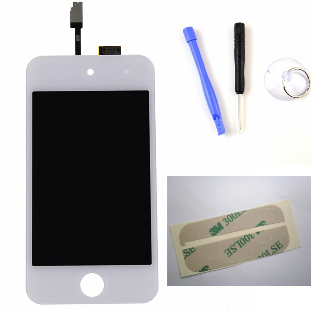 For ipod Touch 4 4th 4G LCD Display Touch Screen with Digitizer Assembly + Tools + Adhesive , white Free shipping !!!