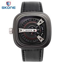 SKONE Sport Watches for Men Vintage Quartz Wrist Watch Men Genuine Leather Mens Watches Top Brand Luxury Relogio Masculino 2016