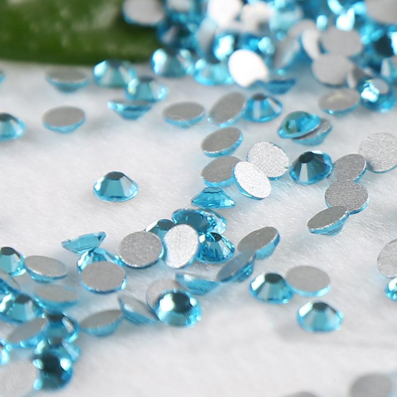 SS3 1.3-1.4mm Lake blue Non Hot Fix Rhinestones Crystal strass fingernail cellphone stones glitter DIY Nail Accessaries(China (Mainland))