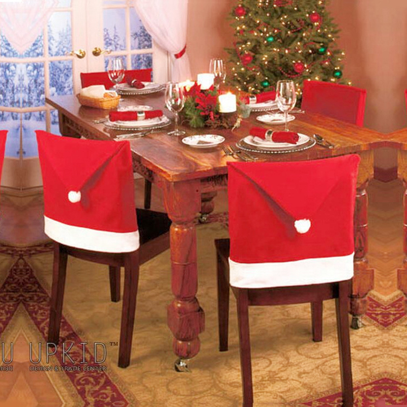 Hot selling 2014 new non-woven red 60 * 50 cm to big chairs sets of Christmas hat, used for Christmas decorations add atmosphere(China (Mainland))