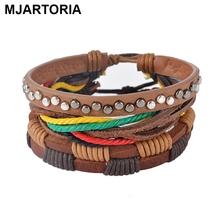 MJARTORIA 1Set Multilayer Leather Bracelet Men Jewelry Boho Rock Wood Bead Bracelets For Women Love Vintage Bracelets & Bangles(China (Mainland))