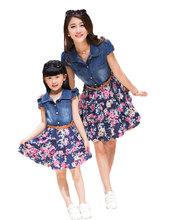 Mother Daughter Denim Patchwork Flower Dress For 2016 Spring And Summer Girls Fashional Print Dresses