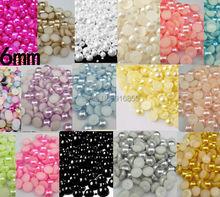 Free shipping 2000pcs/lot 6mm half round flatback ABS Resin imitation pearls beads for nail art DIY phone case decoration(China (Mainland))