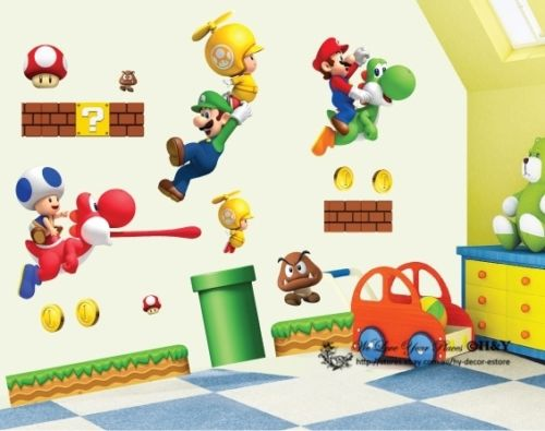 Super Mario Kids Nursery Removable Wall Decal Vinyl Stickers Art Home Decor free shipping(China (Mainland))